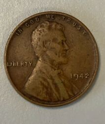 1942 Copper Wheat Penny No Mint Mark Choice Very Fair Condition