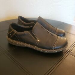 Born Womenand039s Black Leather Loafers Euc Size 7.5 Comfort Cushioned Soles