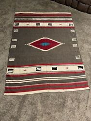 """Vintage Early American Indian Or Mexican Hand Woven Wool Rug Blanket 56"""" X 76"""""""