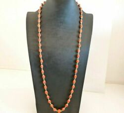 Necklace Antique With Coral Natural Gold Solid 18k Traditional Italian
