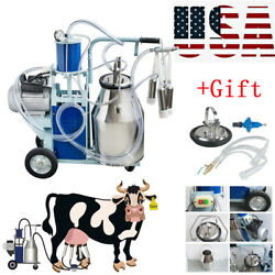 Stainless Steel Electric Milking Machine Milker Farm Goats Cows Bucket 25 Device