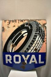 Vintage Royal Tire German Sign Porcelain Enamel Double Sided Boos And Hahn Ortenb