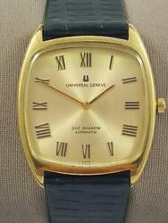 Authentic Universal Geneve Gilt Shadow Microrotor Auto Menand039s Square Watch