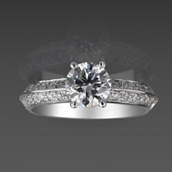 1.27 Ct Anniversary 14 Kt White Gold Diamond Solitaire And Accents Ring Round Cut
