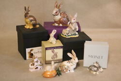 Hinged Bejeweled Rabbit Trinket Boxes Lot Of 9
