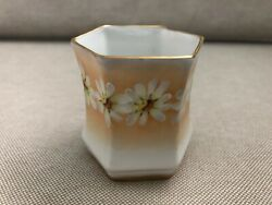 Gorgeous Porcelain Toothpick Holder Germany Daisies Hand Painted Embossed Gold 7