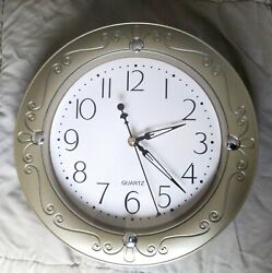 Gold with Silver Plastic 11quot; Battery Clock