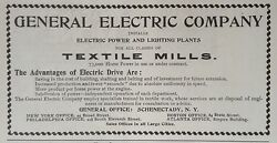 Antique 1904 Adf12general Electric Power Plants For Textile Mills