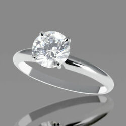 Coupe Ronde Beau Anneau Fianandccedilailles Diamant 14kt Or Blanc 1.49 Ct F-g / Si2