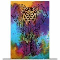 Mandala Elephant Wall Hangings Indian Cotton Poster Throw Indian Bedcover Decor