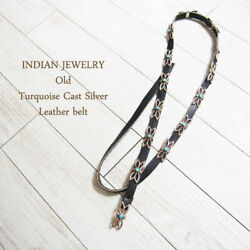 Ndian Jewelry Navajo Old Cast Silver Turquoise Leather Belt