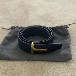 Tom Ford Black T Icon Leather T Buckle Reversible Belt Size 36 Us 90 Cm