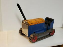 Rare Structo 1920and039s 1930and039s Blue Silver And Yellow Wind Up Crawler Dozer Tractor