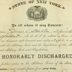 Discharge Paper Of Pvt James S Stockton Brooklyn Ny 13th Regiment Co G Ng 1893