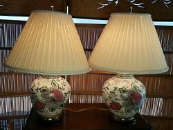 1960's Vintage Asian Oriental Ginger Jar Floral Ceramic And Wood 3-way Table Lamps