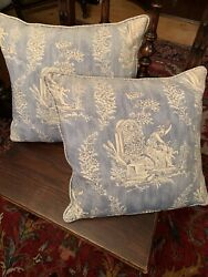 Les Olivades French Blue And White Baroque Style Pillows Rare Find Down Filled
