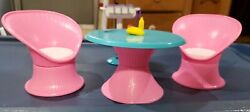 Vintage Barbie Furniture Tall Pink White Wicker Patio Outdoor Table Chairs And Bbq