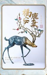 32'' Classical Bronze Crafts Home Decorate Statue Good Fortune Blessing Deer