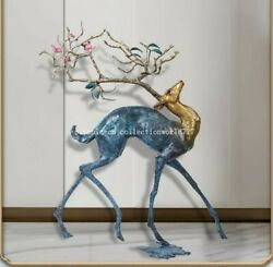 29'' Classical Bronze Crafts Home Decorate Statue Good Fortune Blessing Deer