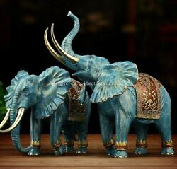 Pair 9and039and039 Classical Bronze Crafts Home Decorate Statue Rich And Humour Elephant