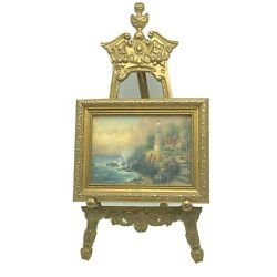 Vintage Ornate Gold Brass Easel Holder Display Stand And Lighthouse Picture