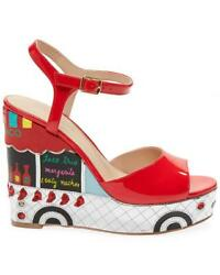 Kate Spade Taco Truck Wedge Shoes Sandals Patent Leather Red 8 Rare