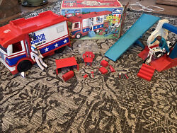 Evel Knievel Lot Scramble Van W/ Box And Assec. Motorcycle Pump And Action Figures