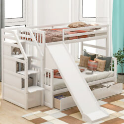Twin Over Full Bunk Beds W/ 2 Drawersslidestorage Cabinet Teens Bed White/gray