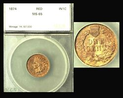 1874 1c Rare Pure Red Color-indian Head Cent
