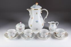 Vintage 20th Original Rare Meissen Porcelain Coffee Service For 4 Persons Marked