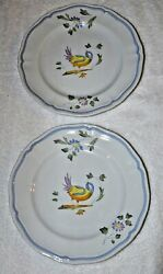 Qty 2 Longchamp France Perouges 10 Dinner Plate Handpainted Discontinued Euc