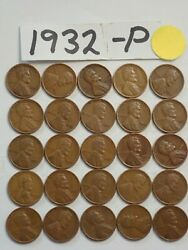 1932-p Cent Half Roll Solid Date =25 Lincoln Wheat Pennies 8 Items Ship Free