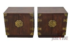 Pair Of Henredon Mahogany And Walnut Pan Asian Nightstands Bed Side Tables