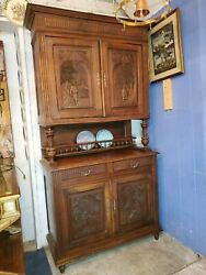 Antique Dutch Kitchen Cupboard Cabinets Hutch - Carved Doors - Very Well Made