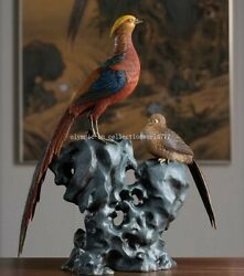 19and039and039 Bronze Crafts Home Feng Shui Decorate Good Fortune Birds Golden Pheasant