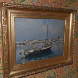 Vintage 20th Swiss Original Oil Panel Painting Neptune Harbor Signed Waly Walter