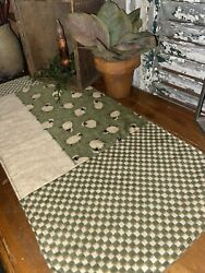 Primitive Farmhouse Green Checked Sheep Quilted Table Runner Mat Cloth Candle