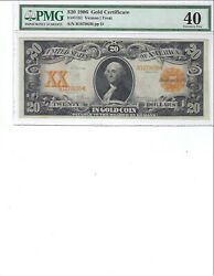 1906 20 Gold Certificate Fr1181 Pmg 40 Xf Vernon/treat High Quality