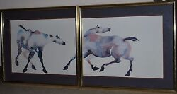 Carol Grigg Painted Ponies 1985 Set Of Two Unframed