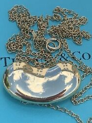 And Co 18k Gold Elsa Peretti Large Bean Pendant Necklace 12.5 Grms 30 Inch
