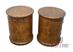Pair Of Henredon Burled Walnut Nightstands Bed Side Tables