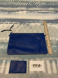 1951 Maison Francaise Clutch XL Oui Please NEW Blue Perfo Leather New W out Tags $69.99