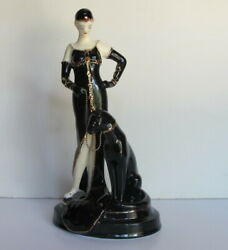 Rare Art Deco Roaring 20s Lady In Black W/panther On Leash Figurine Statue