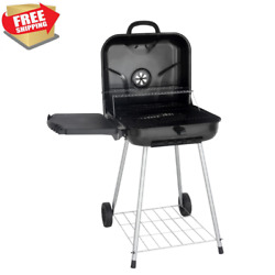 22-inch Square Bbq Barbecue Cooker Charcoal Grill Side Shelf Wheels Portable