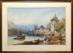 James Burrell Smith 1822-1897 Large Continental Lake Scene Watercolour Painting
