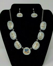 Rare Union Pacific Railroad Syracuse China Co. Necklace And Earrings Set In Silver