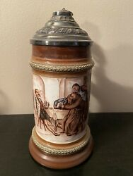 1/2l Hr Hauber And Reuther Hand-painted Beer Stein - Monk Playing Cards 188/20