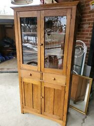 Antique Oak Kitchen Cupboard - Cabinet With Drawers - Top Glass Doors