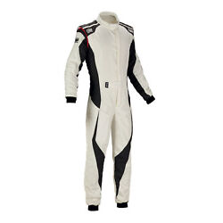 Fia Omp Racing Suit Tecnica Evo Flame Resistant White/anthracite Rally New 2018