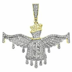 14k Yellow Gold Over .925 Sterling Silver 2 Ct Money Winged Bag Menand039s Pendant